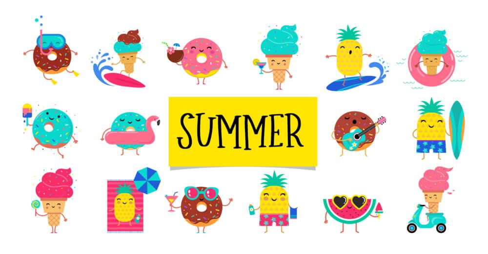 夏の風物詩をキャラクター化したイラスト