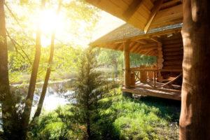自然に囲まれた住宅の風景