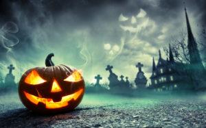 ハロウィーンのかぼちゃお化け(外国人を怖がる両親のイメージ)