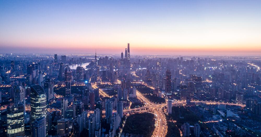上海の夕焼け風景
